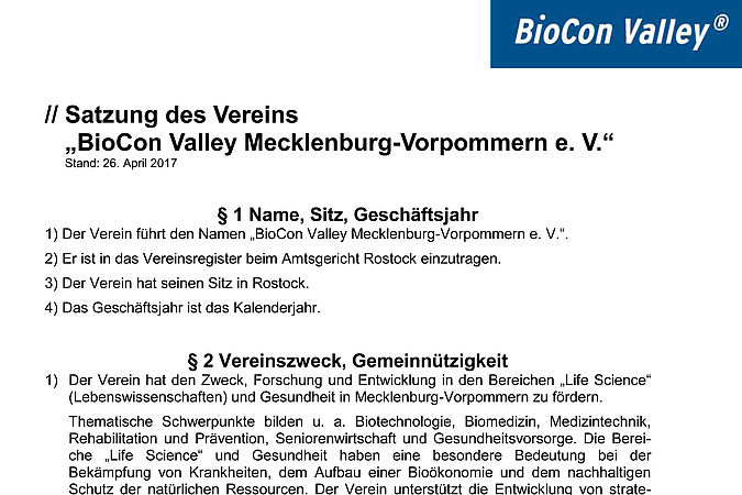 Satzung Biocon Valley Verein